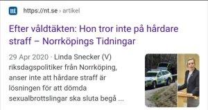 Linda Snecker hårdare straff