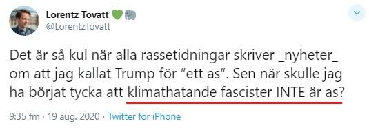Lorentz Tovatt fascister är as