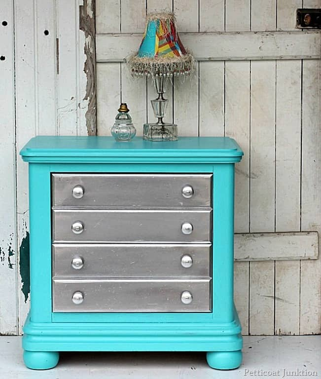 Spray Paint Furniture Metallic Silver And Add Turquoise To