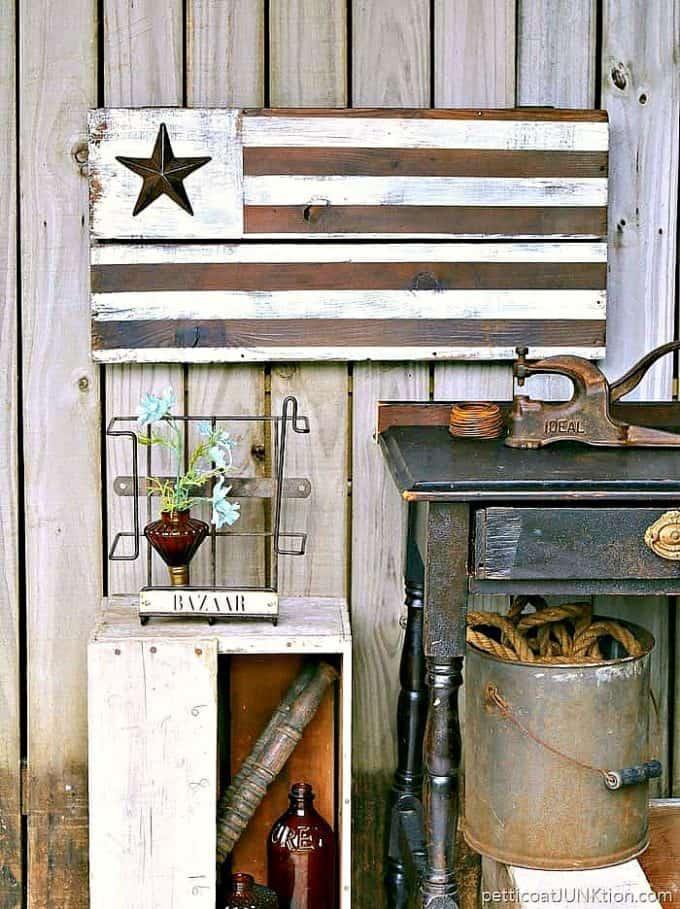 farmhouse style American flag, rustic wood flag