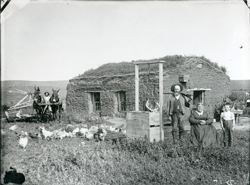 sod house with family and chickens