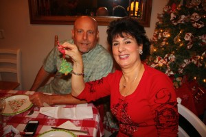 My hubby and I enjoying Angela's homemade and hand painted Christmas tree ornament.