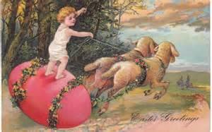 Easter vintage baby on egg