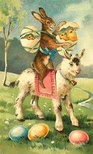 Easter vintage bunny on goat