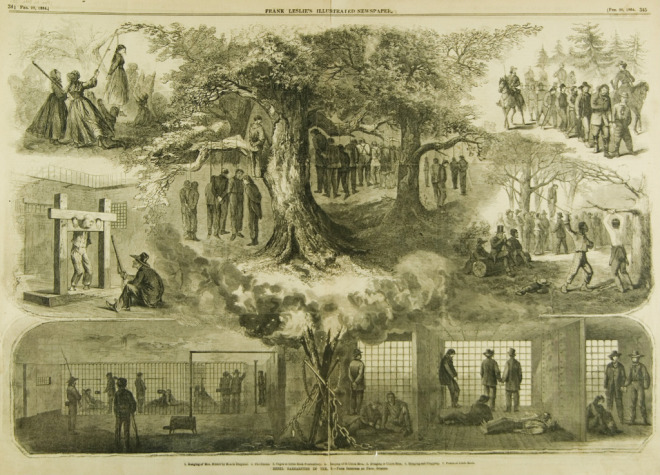 This depiction, from the Feb. 20, 1864, issue of Frank Leslie's Illustrated Weekly Newspaper, is metaphorical—the victims were actually hanged one or two at a time.