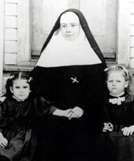 Sister Vincent Cottier and two of her young charges at the orphanage in Galveston. All three perished during The Great Storm of 1900.