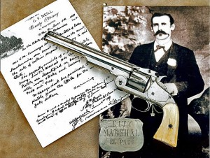 Dallas Stoudenmire had the barrel of this 1860 Colt Army revolver sawed off so the gun could be concealed. The Colt was retrieved from the El Paso street where Stoudenmire was killed in a shootout on September 18, 1882. (from The Peacemakers: Arms and Adventure in the American West by R.L. Wilson — I highly recommend the book)