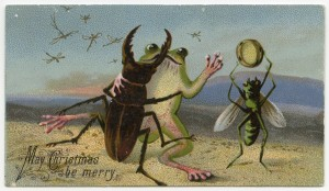 Vintage Christmas--frog and beetle