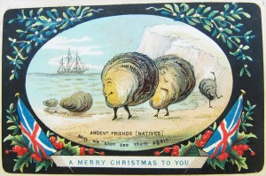 Vintage Christmas--scallops lamenting absent friends (natives)
