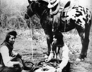 Nez-Perce men with Appaloosa horse
