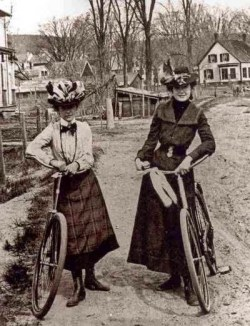 "Women with ""safety bicycles,"" 1890s"