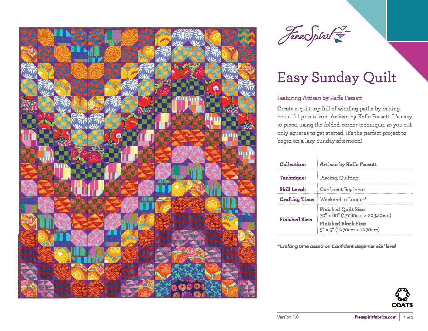Kaffe Fassett Easy Sunday Quilt Kit 70 X 80