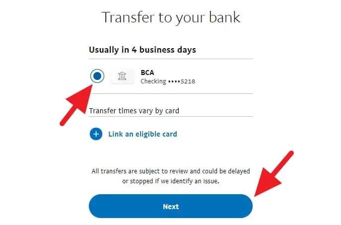 Memilih kartu untuk mencairkan saldo Paypal