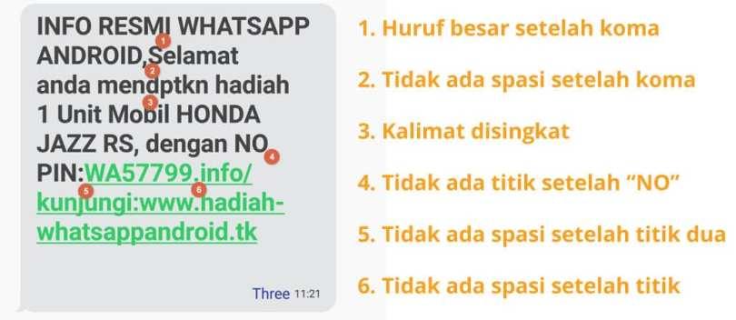 Ciri Penipuan WhatsApp, contoh pesan penipuan whatsapp