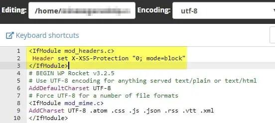 ERR_BLOCKED_BY_XSS_AUDITOR WordPress cPanel