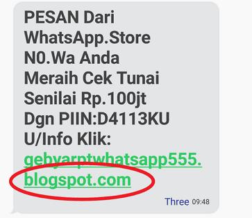 Pesan Undian WhatsApp, whatsapp store, penipuan whatsapp