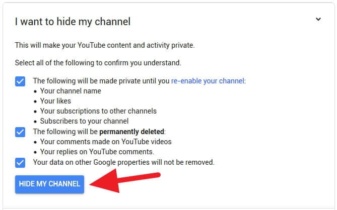 Dampak menyembunyikan channel Youtube