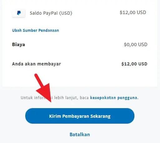 Mengirim pembayaran Paypal