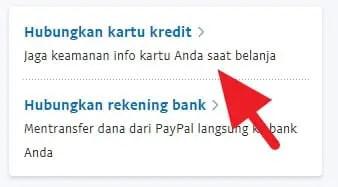 Opsi kartu kredit atau rekening bank