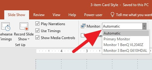 Memilih monitor output