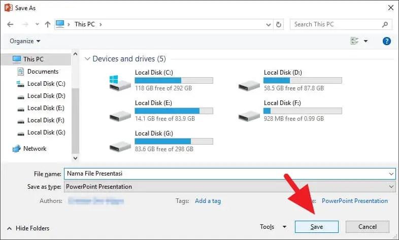 3 Cara Menyimpan File PowerPoint dengan Cepat - Menyimpan PowerPoint 3