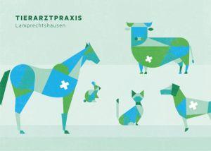 Postkarte mit Tieren