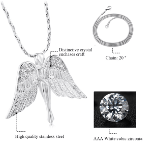 Angel Wings Stainless Steel Cremation Pendant