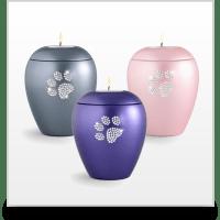 Ceramic Swarovski Crystal Pet Paw Print Tea Light Urn
