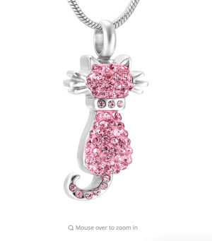 Pink Crystal Cat Stainless Steel Cremation Pendant