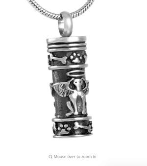 Angel Dog Cylinder Wing Cremation Pendant