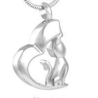 Stainless Steel Cat Half Heart Cremation Pendant