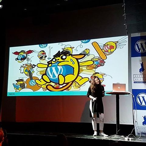 Finland, just a quickie for WordCamp Helsinki this weekend. Did not expect to end up on stage but hey! Any chance to show off burnt out wapuu must be taken. And that venue! So rock'n'roll 🎵 Didn't have enough Helsinki though and it sure looks like there's much more to this place than my exhausted eyes managed to see. I'll be back 🇫🇮 #Finland #Helsinki #WCHEL #WordPress #publicspeaking #vscocam #vsco #nomadstories