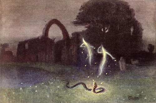 CHT207479 Will-o'-the-wisp and Snake (colour litho); by Hendrich, Hermann (b.1856) (after); colour lithograph; Bibliotheque des Arts Decoratifs, Paris, France; Archives Charmet; German, out of copyright