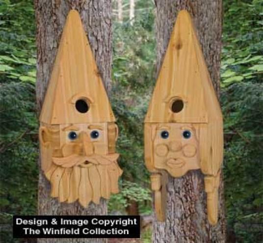 Plutôt sympa ces deux têtes de Monsieur et Madame Gnome à accrocher aux troncs des arbres, non ?