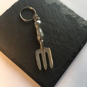 Garden Fork Key ring, Handmade UK Modern English Pewter, Garden fork keychain