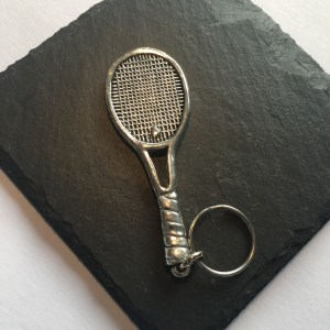 Tennis Racket Key ring, Handmade UK Modern English Pewter, Tennis Racket Keychain