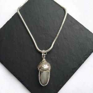 Acorn Pendant, Handmade UK Modern English Pewter, Acorn Necklace