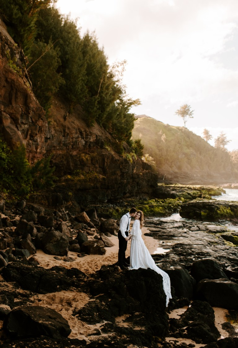 Kauai Hawaii Elopement, Kauai, Hawaii Elopement on the Princeville Cliff-Side