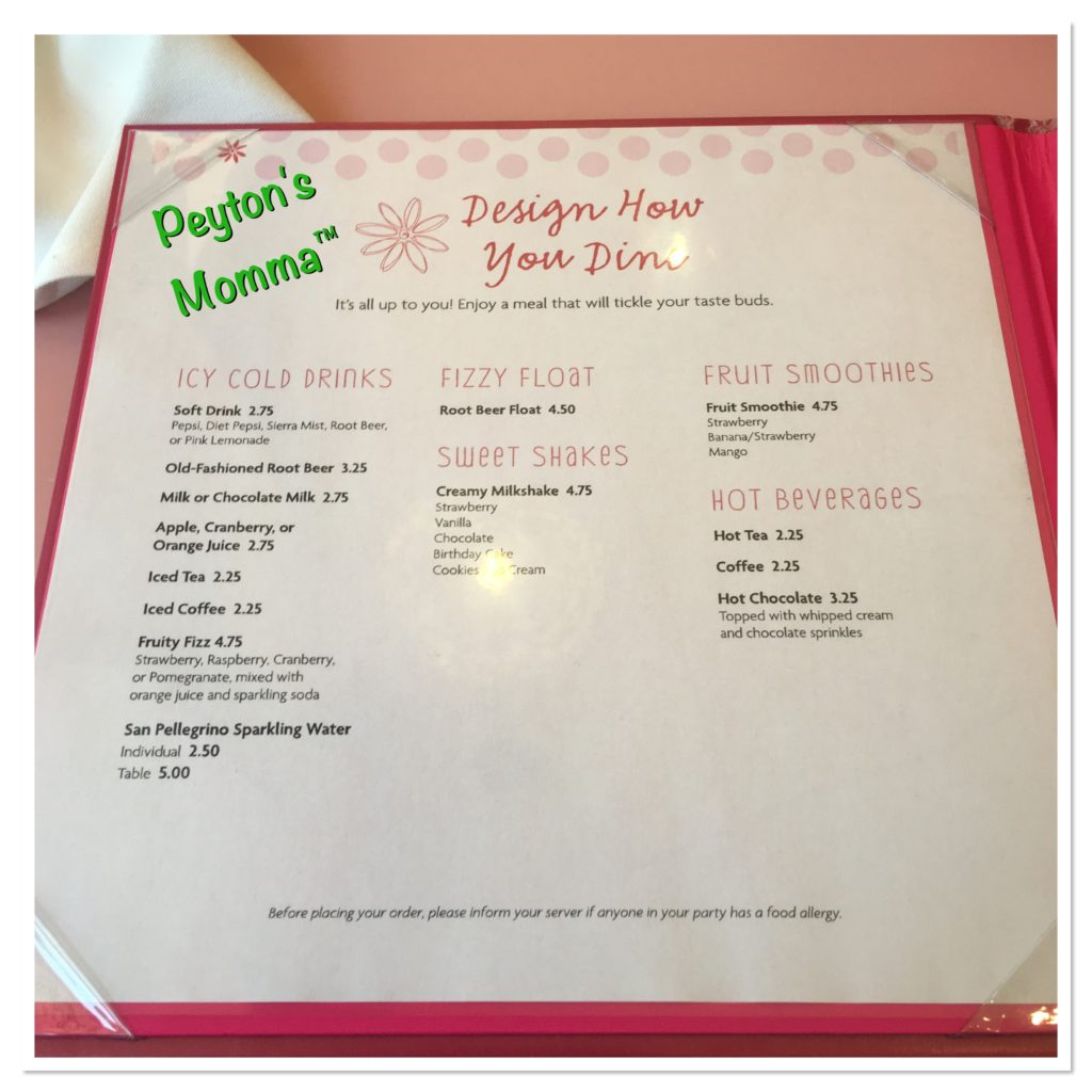 American Girl Drink Menu