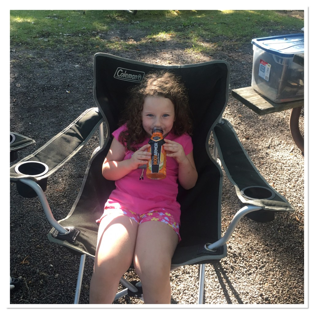 Camping and drinking BodyArmor Sports Drink
