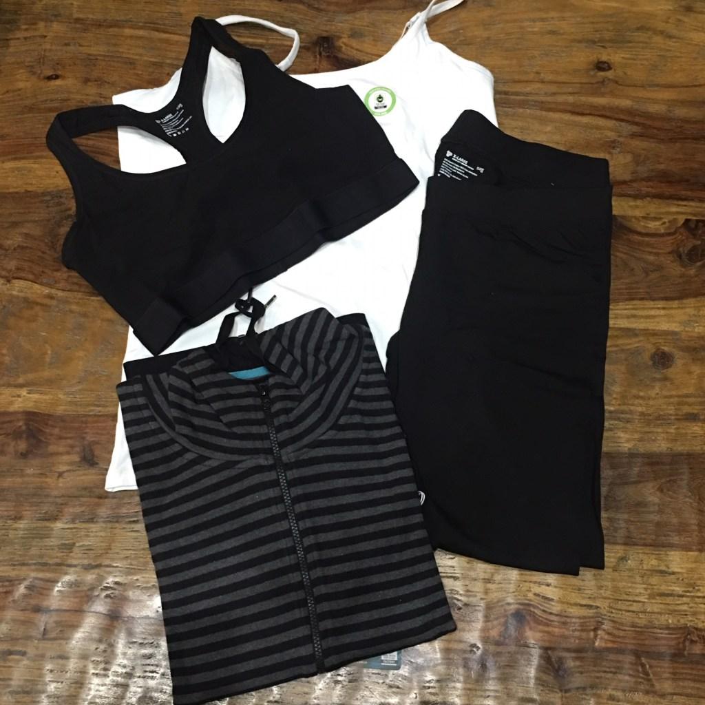 PACT Organic shelf bra tank, sports bra lightweight hoodie and leggings