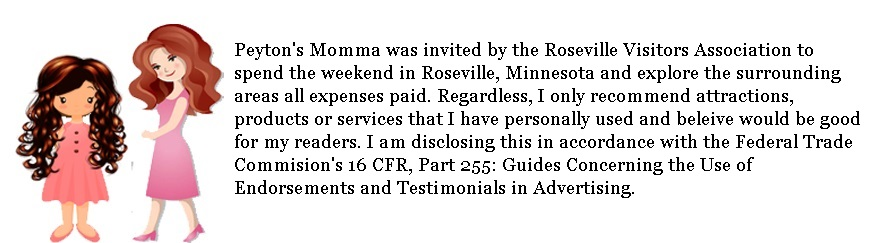 Peyton's Momma was invited by the Roseville, MN CVB for the weekend to come explore Roseville, MN and surrounding area all expense paid. Regardless, I only recommend attractions, experiences, products and services that I have personally used and feel my readers could benefit from. I