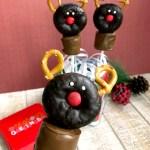 In process shots for reindeer doughnut pops