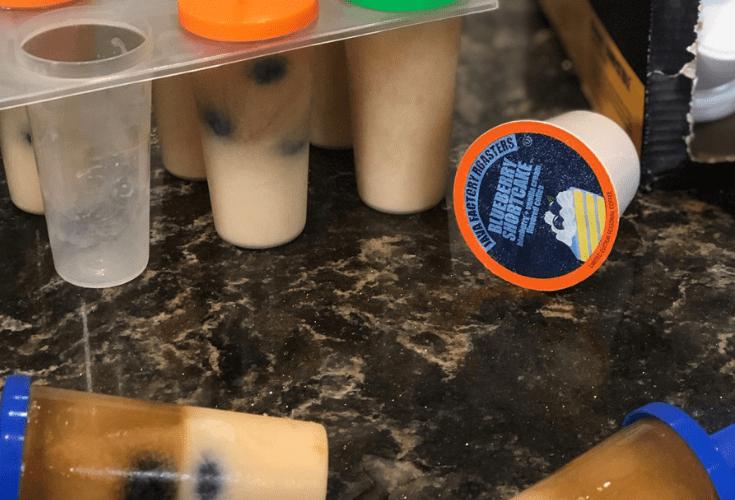 Creamy Blueberry Shortcake Latte Popsicles