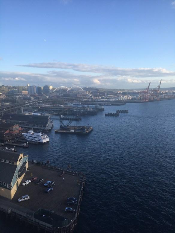 Vista do alto da Seattle Great Wheel