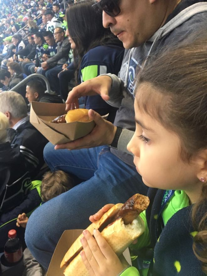Hot dog no estádio dos Seahawks
