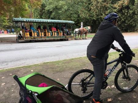 Uma outra opção é ir naqueles carros ali atrás, puxados a cavalo, mas achamos o passeio de bike mais a nossa cara.