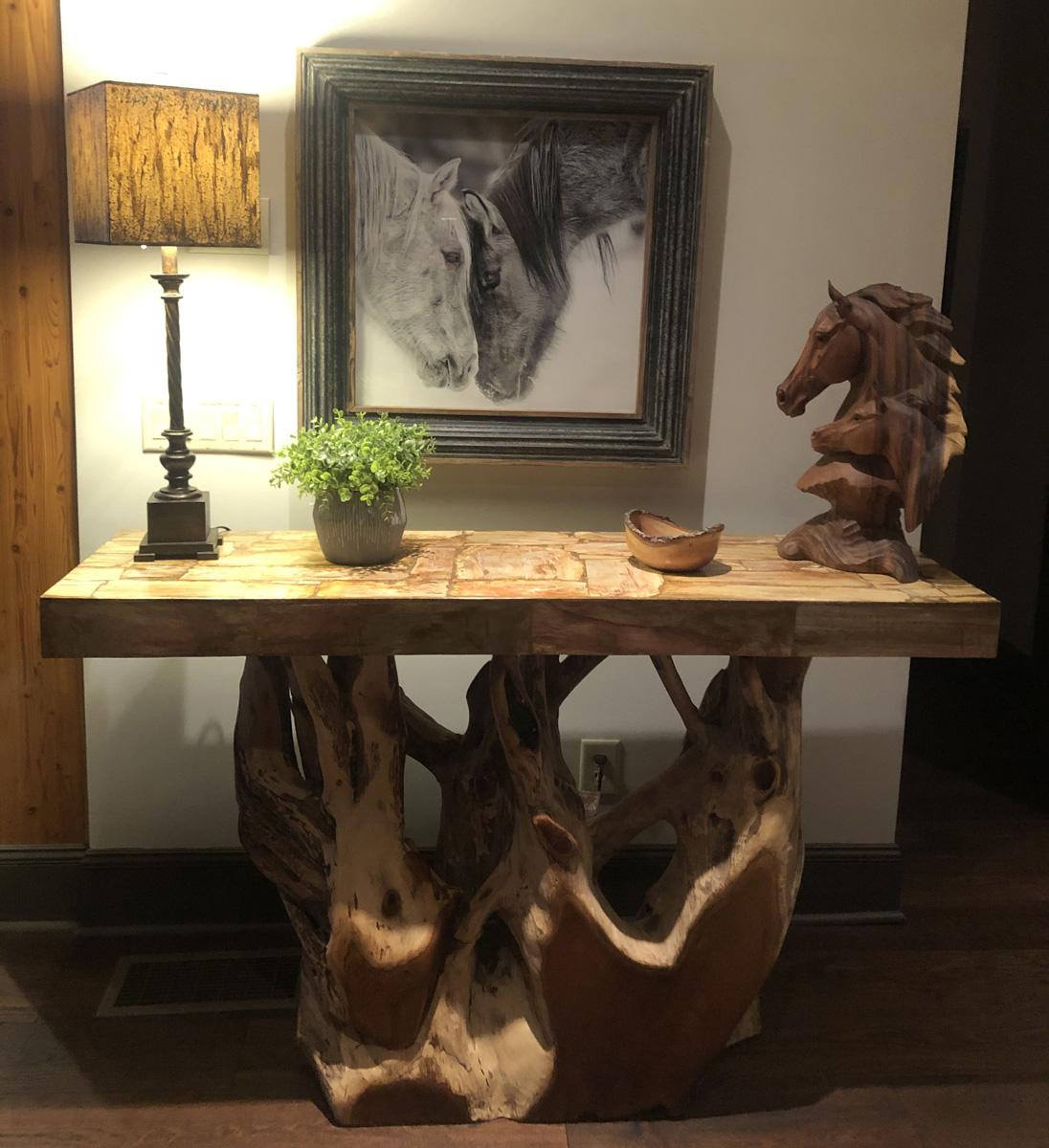 teak carved table