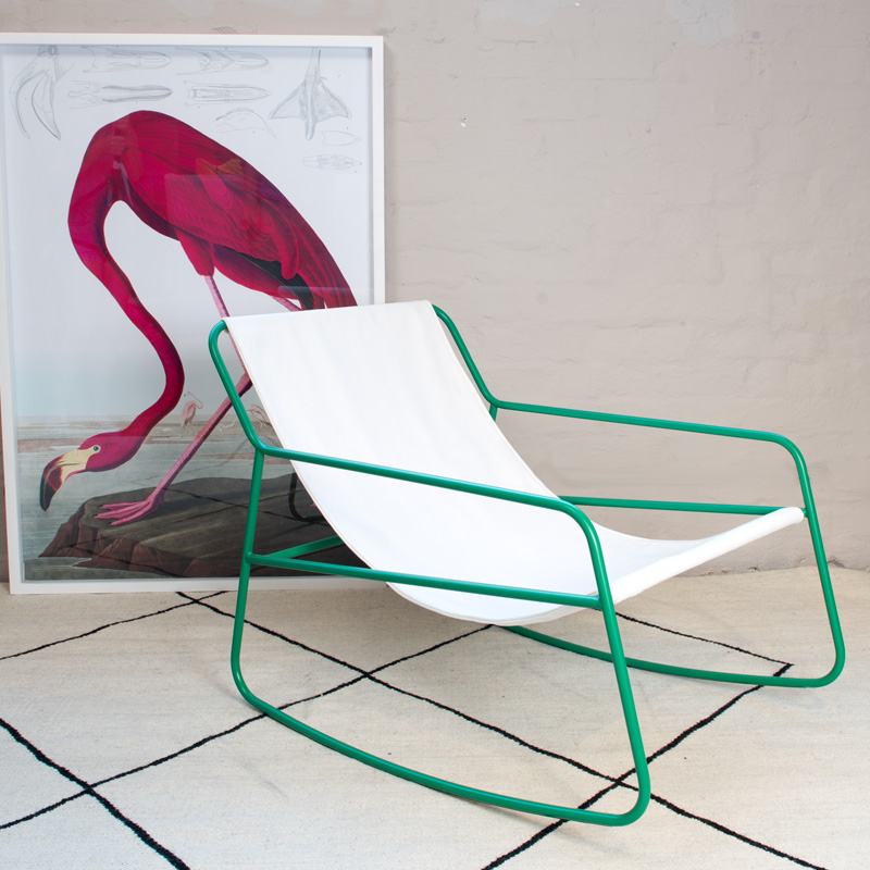 Rocking Chair Green and White