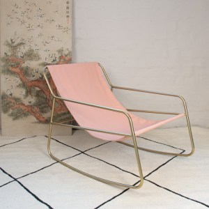 Rocking chair Gold Pink